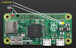 Raspberry Pi Zero Pins für den Anschluss eines Composite Displays